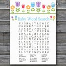 Flowers Baby Shower Word Search Game,Floral Baby shower games,INSTANT DOWNLOAD--126