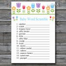 Flowers Baby word scramble game,Floral Baby shower games,INSTANT DOWNLOAD--126