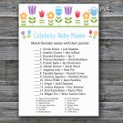 Flowers Celebrity Baby Name Game,Floral Baby shower games,INSTANT DOWNLOAD--126