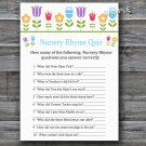 Flowers Nursery Rhyme Quiz baby shower game,Floral Baby shower games,INSTANT DOWNLOAD--126