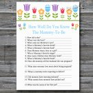 Flowers How well do you know baby shower game,Floral Baby shower games,INSTANT DOWNLOAD--126