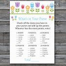 Flowers What's in your purse game,Floral Baby shower games,INSTANT DOWNLOAD--126