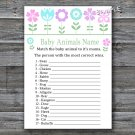 Flowers Baby Animals Name Game,Floral Baby shower games,INSTANT DOWNLOAD--125