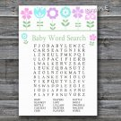 Flowers Baby Shower Word Search Game,Floral Baby shower games,INSTANT DOWNLOAD--125