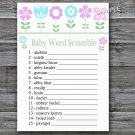 Flowers Baby word scramble game,Floral Baby shower games,INSTANT DOWNLOAD--125