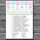 Flowers Celebrity Baby Name Game,Floral Baby shower games,INSTANT DOWNLOAD--125