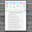 Flowers Nursery Rhyme Quiz baby shower game,Floral Baby shower games,INSTANT DOWNLOAD--125