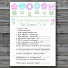 Flowers How well do you know baby shower game,Floral Baby shower games,INSTANT DOWNLOAD--125