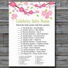 Sakura branch Celebrity Baby Name Game,Sakura branch Baby shower games,INSTANT DOWNLOAD--123
