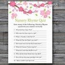 Sakura branch Nursery Rhyme Quiz baby shower game,Sakura Baby shower games,INSTANT DOWNLOAD--123
