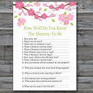 Sakura branch How well do you know baby shower game,Sakura Baby shower games,INSTANT DOWNLOAD--123