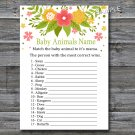 Florals Baby Animals Name Game,Flowers Baby shower games,INSTANT DOWNLOAD--122