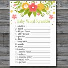 Florals Baby word scramble game,Flowers Baby shower games,INSTANT DOWNLOAD--122