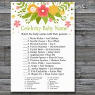 Florals Celebrity Baby Name Game,Flowers Baby shower games,INSTANT DOWNLOAD--122