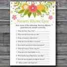 Florals Nursery Rhyme Quiz baby shower game,Flowers Baby shower games,INSTANT DOWNLOAD--122