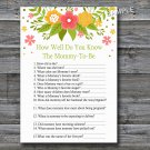 Florals How well do you know baby shower game,Flowers Baby shower games,INSTANT DOWNLOAD--122
