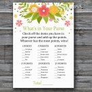 Florals What's in your purse game,Flowers Baby shower games,INSTANT DOWNLOAD--122