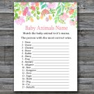 Watercolor Flowers Baby Animals Name Game,Florals Baby shower games,INSTANT DOWNLOAD--121
