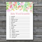 Watercolor Flowers Baby word scramble game,Florals Baby shower games,INSTANT DOWNLOAD--121