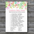 Watercolor Flowers Celebrity Baby Name Game,Florals Baby shower games,INSTANT DOWNLOAD--121