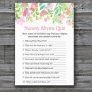 Watercolor Flowers Nursery Rhyme Quiz baby shower game,Baby shower games,INSTANT DOWNLOAD--121