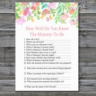 Watercolor Flowers How well do you know baby shower game,Baby shower games,INSTANT DOWNLOAD--121