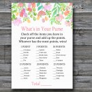Watercolor Flowers What's in your purse game,Florals Baby shower games,INSTANT DOWNLOAD--121