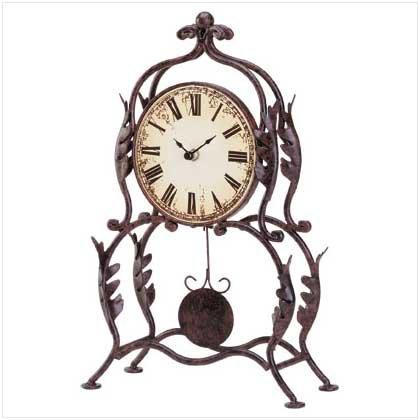 #34266 Metal Table Clock with Swinging Pendulum