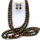 NE00563-37 INCHES 2 STRAND WOOD LONG NECKLACE SET