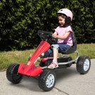 Kids Powered 4 Wheel Adjustable Seat Pedal Go Kart-Red