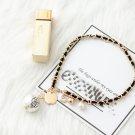 Black Camellia Necklace Pendant Crystal Brand no.5 Letter cc-Necklace