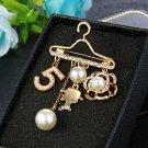 Stylish Big Pearl Letter 5 Rhinestone Camellia cc-Brooch