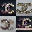 Fashion cc pearls and rhinestones brooch