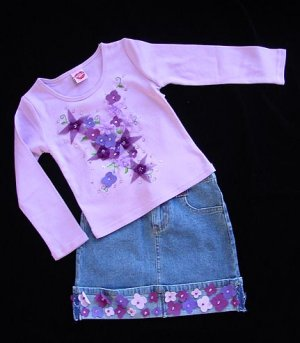 Lipstik Suede Flowers Top and Skirt Size 4 New