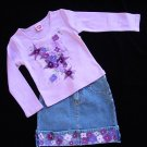Lipstik Suede Flowers Top and Skirt Size 6X New