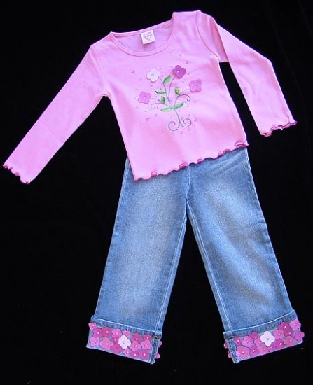 Lipstik Mini Suede Top and Jeans 4T New