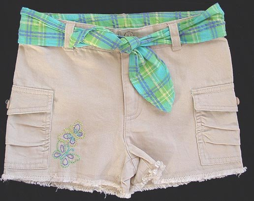 Green Dog Tan Beige Shorts with Green Plaid Belt 6X New