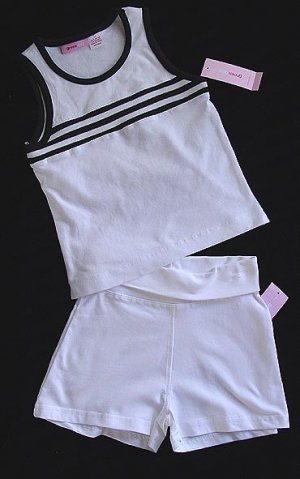 2 PC White and Black Top Shorts S New