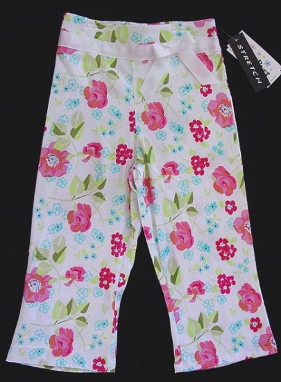 Amy Buyer White Basket Weave Floral Pants 6X New