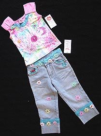 Boutique Lipstik Daisy Dream 6X Top and Jeans New NWT