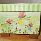 """New! Fairy Box with Lid and Wooden Block Stands GREENBRIER 5"""" x 4"""" x 3"""""""