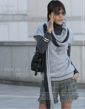 Gray Korean top sweater One Size