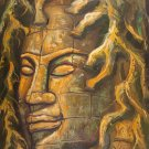 "Asian Original Wall Art Oil Painting-Canvas - Tree Buddha (80cm x 60cm) 31"" Tall"