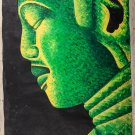 "Asian Original Wall Art Oil Painting-Canvas -Green Buddha (76cm x 58cm) 30"" Tall"