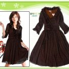 D26-Brown tiny-polka print dress