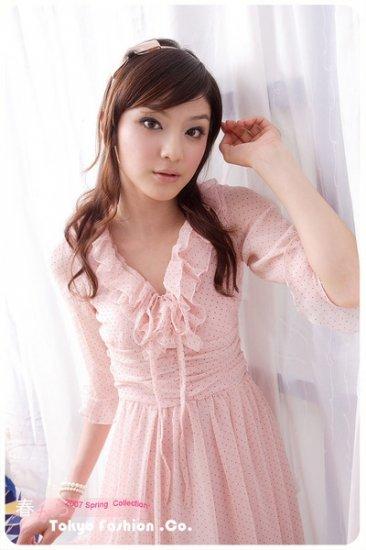 Pink tiny-polka print dress