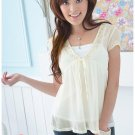 Soft sheer top with inner slip - cream