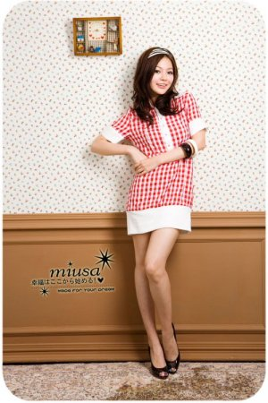 D21-Checked shirt-dress - Red