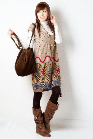 D18-Tribal print dress - Apricot