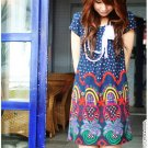 D17-Tribal print dress - Blue